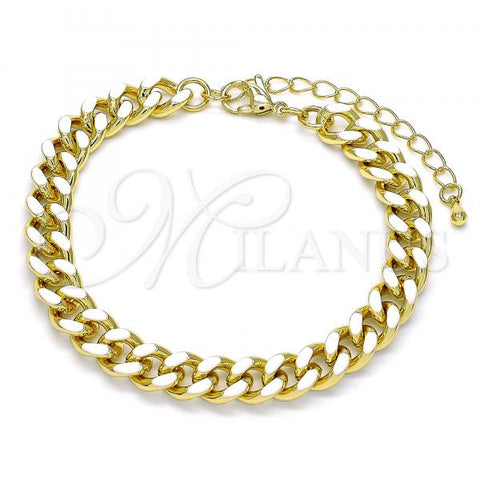 Gold Layered 03.341.0075.07 Basic Bracelet, Miami Cuban Design, White Enamel Finish, Golden Tone