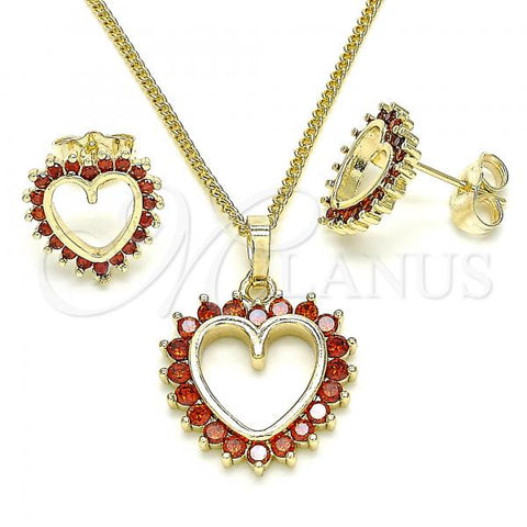 Gold Layered 10.284.0009.1 Earring and Pendant Adult Set, Heart Design, with Garnet Cubic Zirconia, Polished Finish, Golden Tone