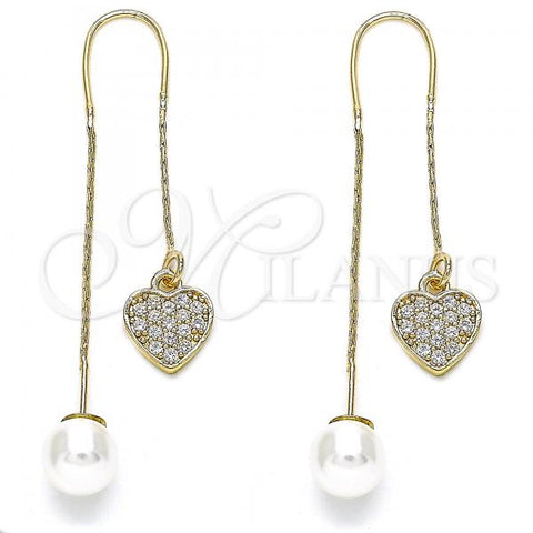 Gold Layered 02.210.0395 Threader Earring, Heart Design, with White Micro Pave, Polished Finish, Golden Tone