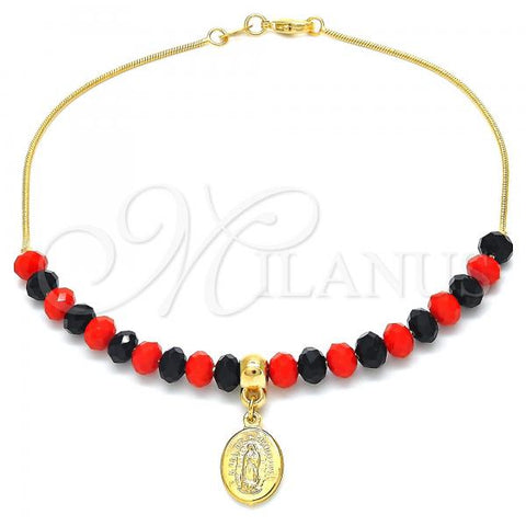 Gold Layered 03.32.0207.10 Charm Anklet , Snake  and Guadalupe Design, with Orange Red and Black Opal, Polished Finish, Golden Tone