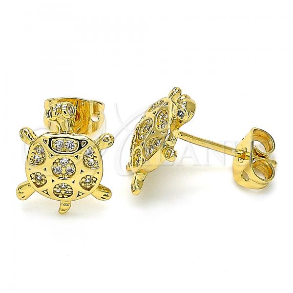 Gold Layered 02.342.0063 Stud Earring, Turtle Design, with White Cubic Zirconia, Polished Finish, Golden Tone