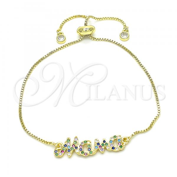 Gold Layered 03.368.0003.10 Fancy Bracelet, with Multicolor Cubic Zirconia, Polished Finish, Golden Tone