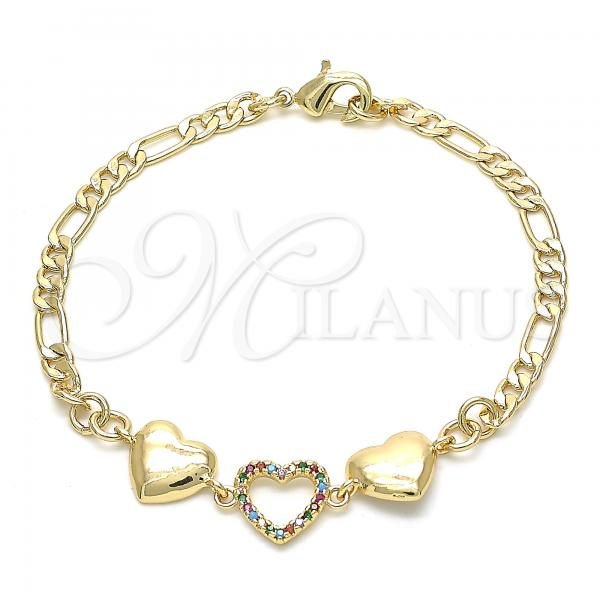 Gold Layered 03.233.0024.08 Fancy Bracelet, Heart Design, with Multicolor Crystal, Polished Finish, Golden Tone