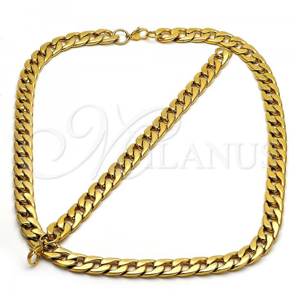 Stainless Steel 06.269.0004 Necklace and Bracelet, Curb Design, Polished Finish, Golden Tone