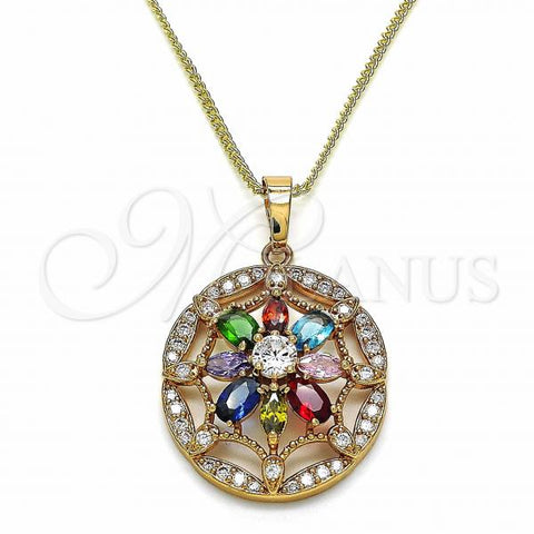 Gold Layered 04.284.0019.20 Fancy Necklace, Flower Design, with Multicolor Cubic Zirconia, Polished Finish, Golden Tone