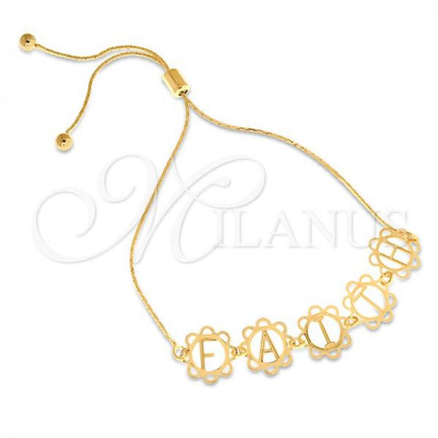 Gold Layered 03.32.0164 Fancy Bracelet, Initials Design, Polished Finish, Golden Tone