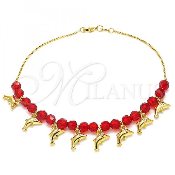 Gold Layered 03.32.0204.10 Charm Anklet , Dolphin and Box Design, with Ruby Crystal, Red Polished Finish, Golden Tone