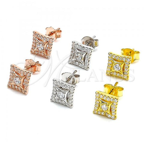 Sterling Silver Stud Earring, with Cubic Zirconia and Crystal, Rhodium Tone
