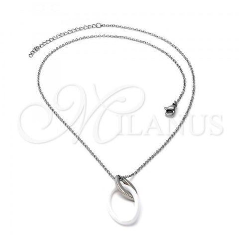 Stainless Steel 04.113.0020 Fancy Necklace, White Resin Finish, Steel Tone