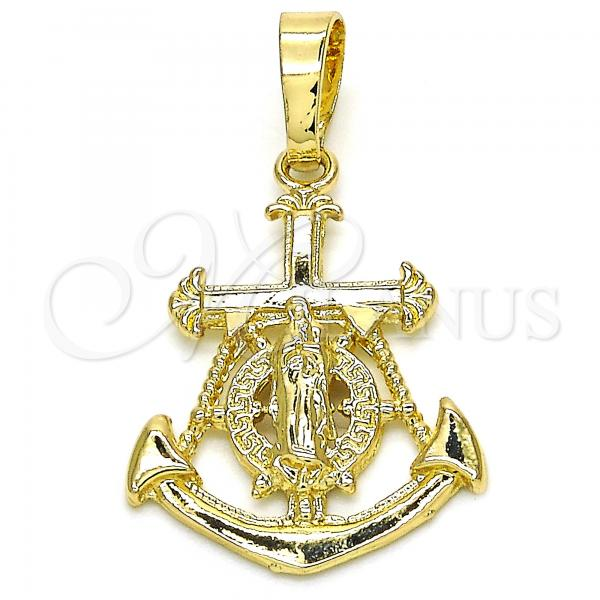 Gold Layered 05.213.0054 Fancy Pendant, Anchor and Guadalupe Design, Polished Finish, Golden Tone