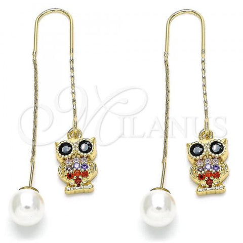 Gold Layered 02.210.0347.1 Threader Earring, Owl Design, with Multicolor Micro Pave, Polished Finish, Golden Tone
