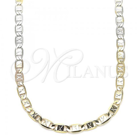 Gold Layered 04.65.0202.24 Basic Necklace, Mariner Design, Diamond Cutting Finish, Tri Tone
