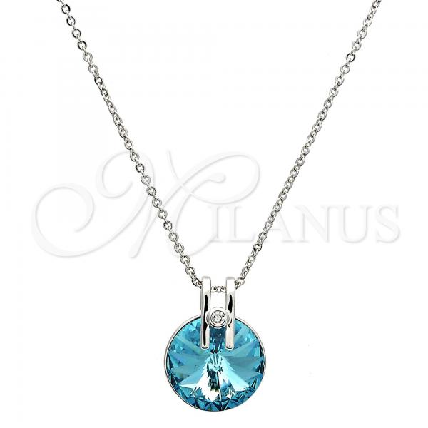 Rhodium Plated Pendant Necklace, Rolo Design, with Swarovski Crystals and Crystal, Rhodium Tone