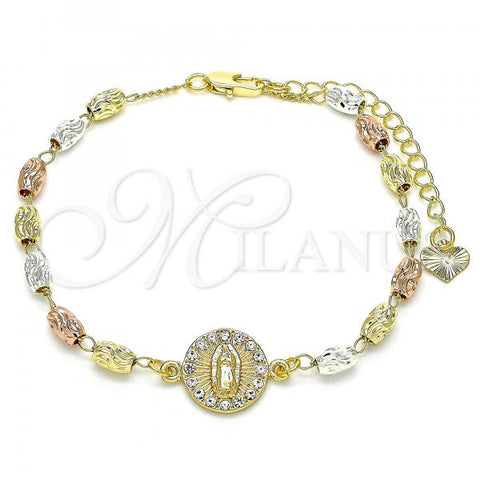 Gold Layered 03.253.0059.07 Fancy Bracelet, Guadalupe Design, with White Crystal, Diamond Cutting Finish, Tri Tone