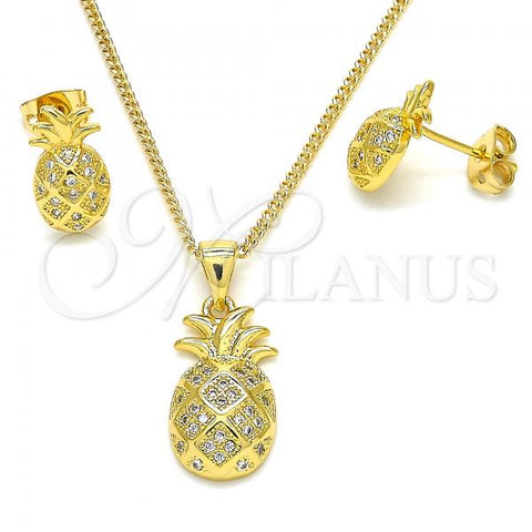 Gold Layered 10.342.0002 Earring and Pendant Adult Set, Pineapple Design, with White Micro Pave, Polished Finish, Golden Tone