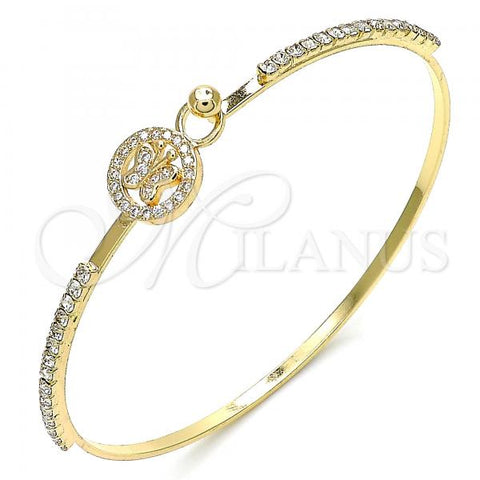 Gold Layered 07.193.0023.04 Individual Bangle, Butterfly Design, with White Micro Pave and White Crystal, Polished Finish, Golden Tone (02 MM Thickness, Size 4 - 2.25 Diameter)
