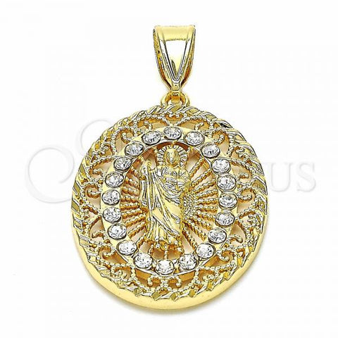Gold Layered 05.253.0069 Religious Pendant, San Judas Design, with White Crystal, Polished Finish, Golden Tone