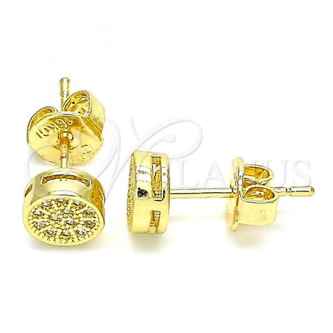 Gold Layered 02.156.0478 Stud Earring, with White Micro Pave, Polished Finish, Golden Tone