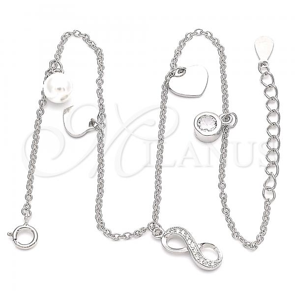 Sterling Silver 03.336.0047.10 Charm Anklet , Infinite and Heart Design, with White Micro Pave and White Cubic Zirconia, Polished Finish, Rhodium Tone