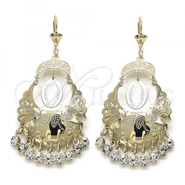 Gold Layered 02.351.0057 Chandelier Earring, Guadalupe and Elephant Design, with White Crystal, Polished Finish, Golden Tone