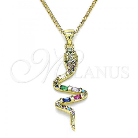 Gold Layered 04.368.0007.20 Pendant Necklace, Snake Design, with Multicolor Micro Pave and Multicolor Cubic Zirconia, Polished Finish, Golden Tone
