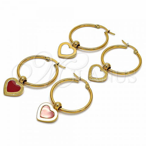 Stainless Steel Medium Hoop, Heart Design, Golden Tone