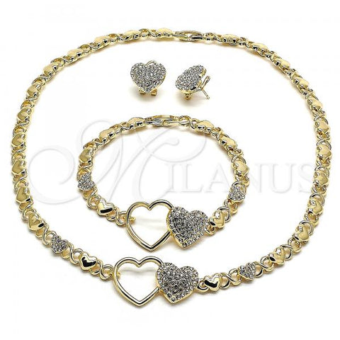 Gold Layered 06.372.0005 Necklace, Bracelet and Earring, Heart and Hugs and Kisses Polished Finish, Design, Golden Tone with White Crystal, Polished Finish, Golden Tone