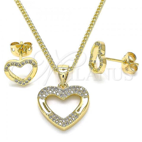 Gold Layered 10.342.0033 Earring and Pendant Adult Set, Heart Design, with White Micro Pave, Polished Finish, Golden Tone