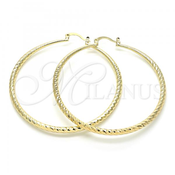 Gold Layered 02.213.0160.60 Large Hoop, Diamond Cutting Finish, Golden Tone