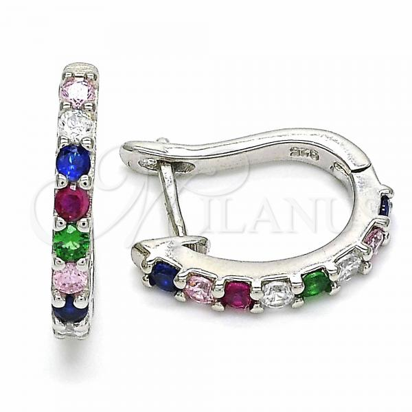 Sterling Silver 02.332.0059.15 Huggie Hoop, with Multicolor Cubic Zirconia, Polished Finish, Rhodium Tone