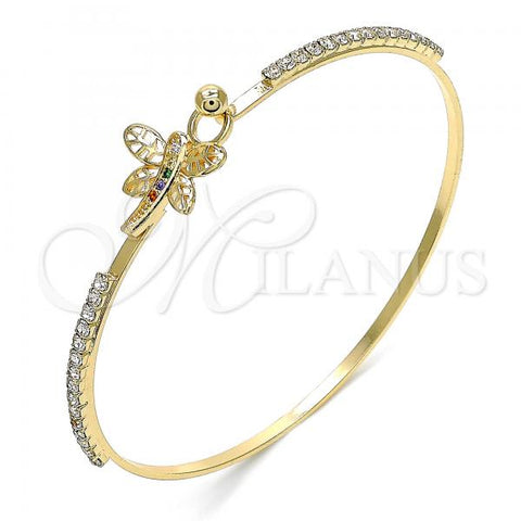 Gold Layered 07.193.0026.1.04 Individual Bangle, Dragon-Fly Design, with Multicolor Micro Pave and White Crystal, Polished Finish, Golden Tone (02 MM Thickness, Size 4 - 2.25 Diameter)