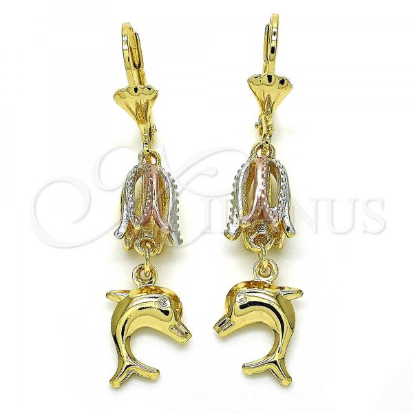 Gold Layered 02.351.0019 Long Earring, Dolphin Design, Polished Finish, Tri Tone