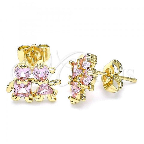Gold Layered 02.210.0373.2 Stud Earring, Little Girl and Little Boy Design, with Pink Cubic Zirconia, Polished Finish, Golden Tone