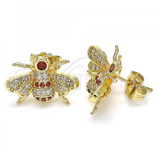 Gold Layered 02.210.0412.1 Stud Earring, Bee Design, with Garnet and White Micro Pave, Polished Finish, Golden Tone