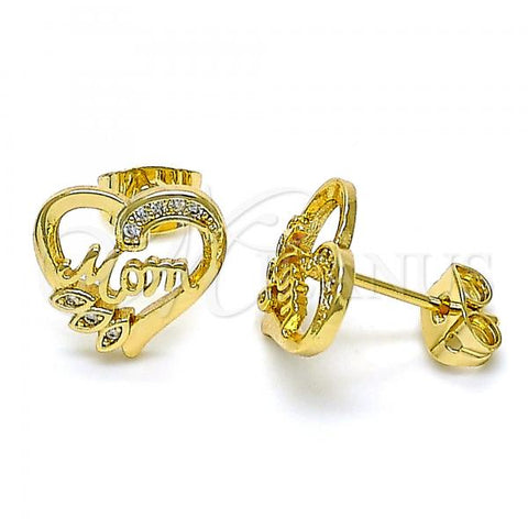 Gold Layered 02.342.0069 Stud Earring, Polished Finish, Golden Tone Mom and Heart Design, with White Micro Pave, Polished Finish, Golden Tone