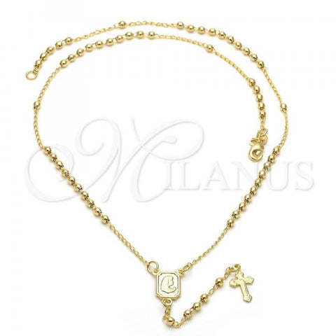 Gold Layered 5.213.006.18 Thin Rosary, Virgen Maria Design, Polished Finish, Golden Tone