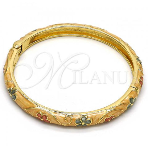 Gold Layered Individual Bangle, Flower Design, Golden Tone