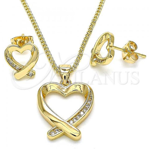 Gold Layered 10.342.0034 Earring and Pendant Adult Set, Heart Design, with White Micro Pave, Polished Finish, Golden Tone