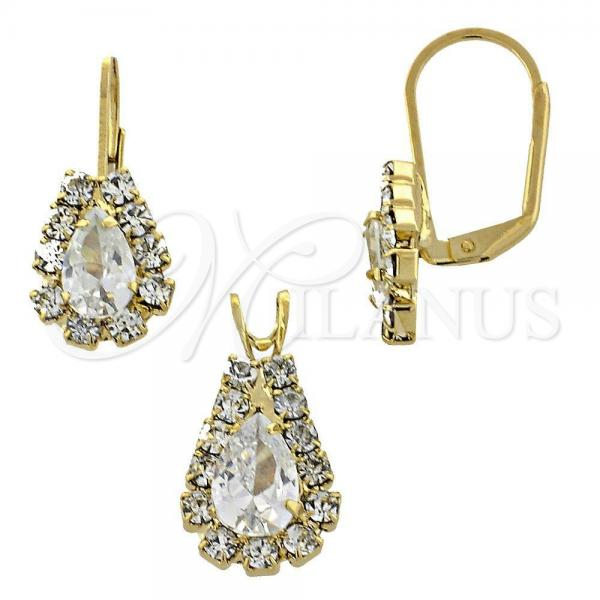 Gold Layered 5.056.014 Earring and Pendant Adult Set, with  Cubic Zirconia, Golden Tone