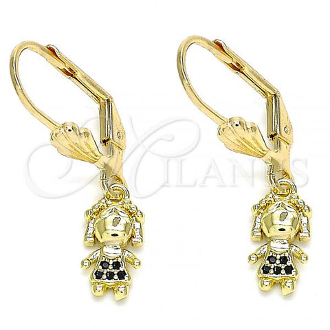 Gold Layered 02.316.0064.2 Dangle Earring, Little Girl Design, with Black Micro Pave, Polished Finish, Golden Tone
