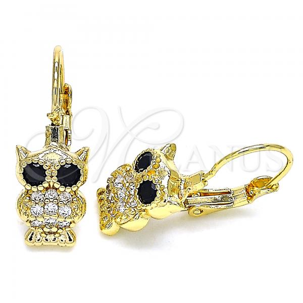 Gold Layered 02.210.0380 Leverback Earring, Owl Design, with White and Black Micro Pave, Polished Finish, Golden Tone