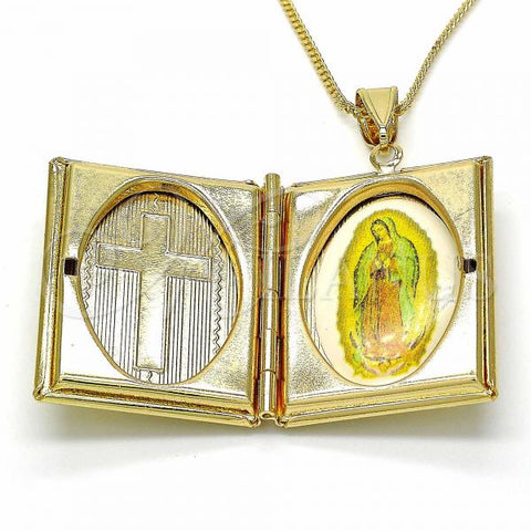 Gold Layered 04.253.0006.20 Pendant Necklace, Guadalupe and Cross Design, Polished Finish, Golden Tone