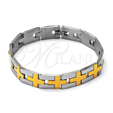 Stainless Steel 03.63.1452.09 Solid Bracelet, Polished Finish, Two Tone