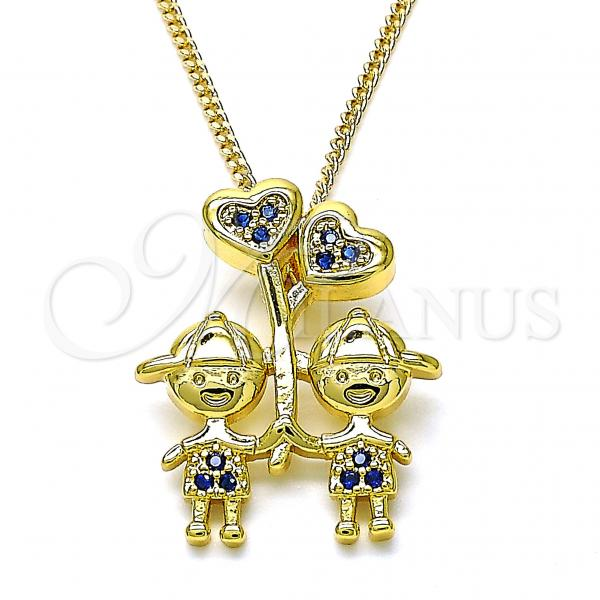 Gold Layered 04.341.0021.20 Pendant Necklace, Little Boy and Heart Design, with Sapphire Blue Micro Pave, Polished Finish, Golden Tone