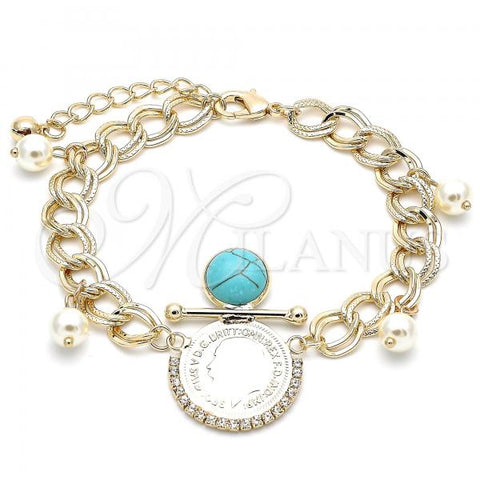 Gold Layered 03.331.0107.1.08 Charm Bracelet, with Turquoise Opal and White Crystal, Polished Finish, Golden Tone