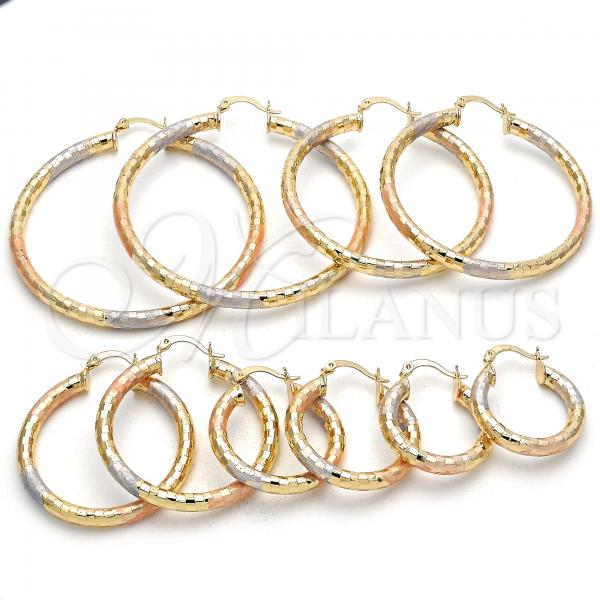 Gold Layered Small Hoop, Hollow Design, Tri Tone