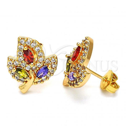 Gold Layered 02.343.0002 Stud Earring, Leaf Design, with Multicolor Cubic Zirconia, Polished Finish, Golden Tone