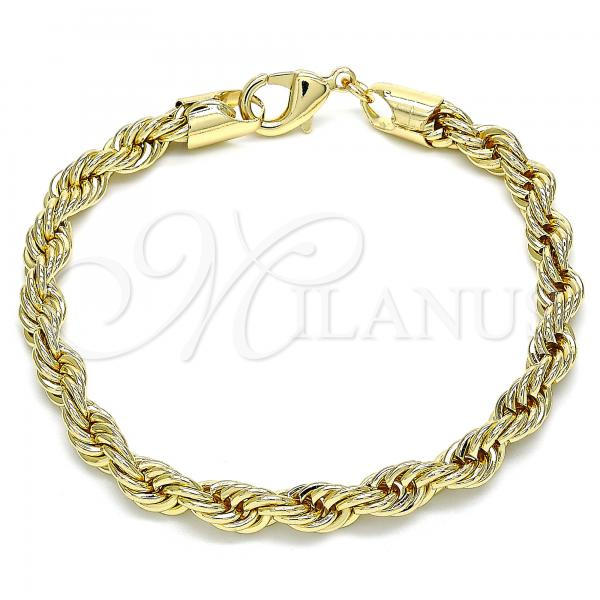 Gold Layered 04.213.0206.08 Basic Bracelet, Rope Design, Polished Finish, Golden Tone