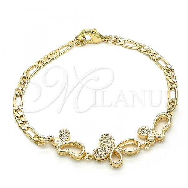 Gold Layered 03.233.0037.08 Fancy Bracelet, Butterfly Design, with White Cubic Zirconia, Polished Finish, Golden Tone