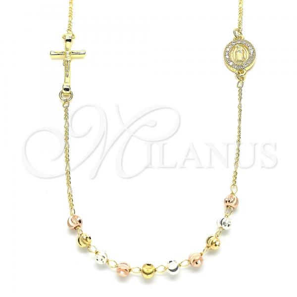 Gold Layered 04.253.0008.18 Fancy Necklace, Guadalupe and Crucifix Design, with White Cubic Zirconia, Diamond Cutting Finish, Tri Tone